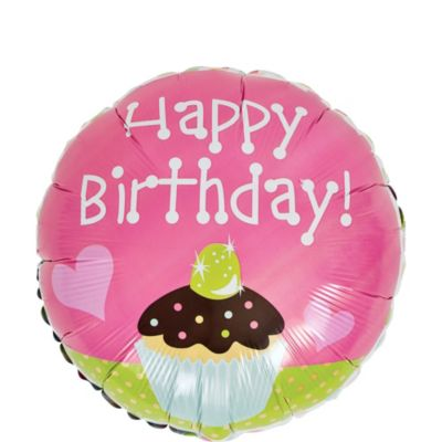 Happy Birthday Cupcake Balloon