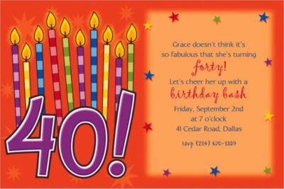 Great Birthday 40 Custom Invitation