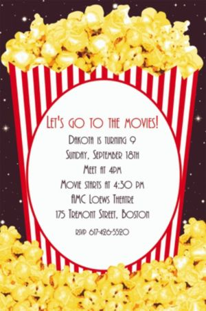 Custom Movie Night Popcorn Invitations