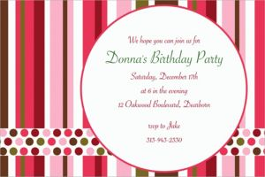 Custom Party Stripe Invitations