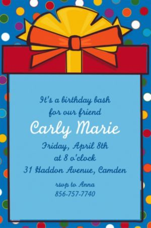 Custom Polka Dot Present Invitations