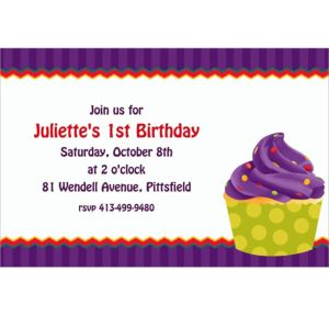 Custom 1st Cupcake Invitations