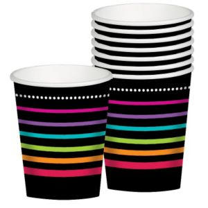 Happy Birthday Cups 8ct - Rainbow Stripes
