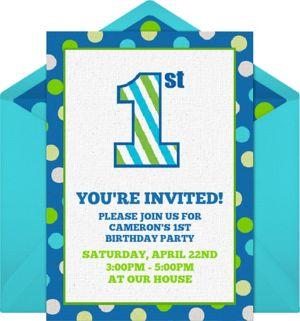 First Birthday Dots Digital Invitation