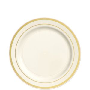 Cream Gold-Trimmed Premium Plastic Appetizer Plates 20ct