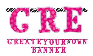 Create Your Own Letter Banner 84pc - Zebra Party