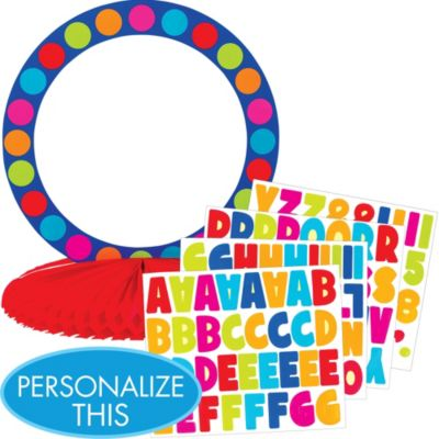 Cabana Polka Dot Personalize It Table Centerpiece Kit 5pc