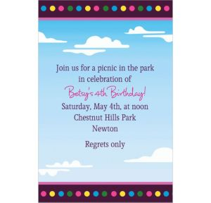 Custom Clouds & Dots Invitations