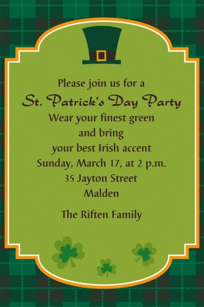 St. Paddy's Day Plaid Custom Invitation