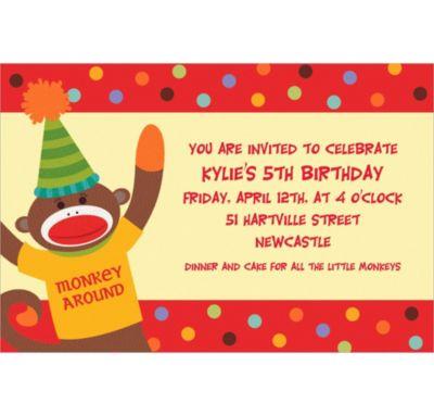Custom Monkey Party Invitations