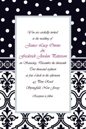 Custom Damask & Polka Dot Wedding Invitations