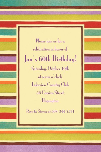 Custom Crafty Stripe Invitations