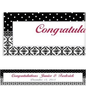 Custom Damask & Polka Dot Wedding Banner 6ft