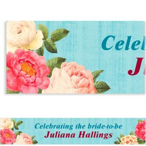 Custom Blissful Blooms Wedding Banner 6ft