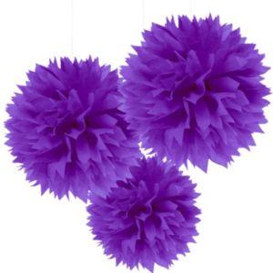 Purple Fluffy Decorations 3ct