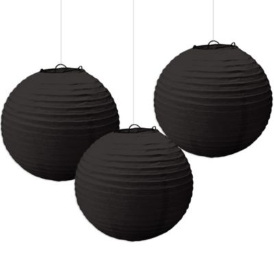 Black Paper Lanterns 3ct