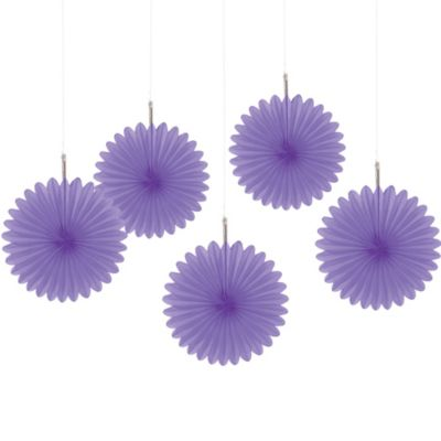 Purple Mini Fan Decorations 5ct