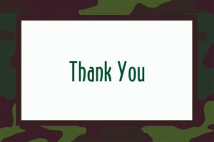 Custom Camouflage Welcome Home Thank You Notes