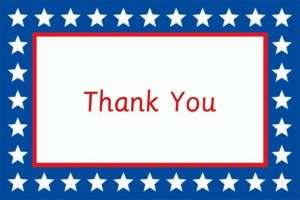 Custom Red, White & Blue Stars Welcome Home Thank You Notes
