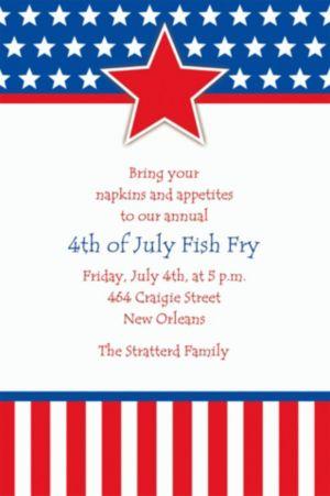 Custom Red, White & Blue Stars Patriotic Invitations