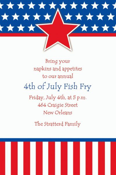 Red, White & Blue Stars Custom Invitation