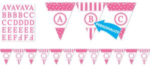 Bright Pink Personalize It Pennant Banner Kit 28pc