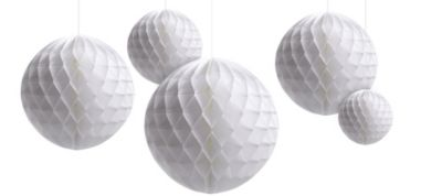 White Honeycomb Balls Decorating Kit 5ct