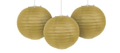 Gold Paper Lanterns 9 1/2in 3ct
