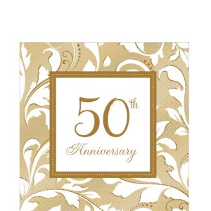 Golden 50th Anniversary Lunch Napkins 16ct