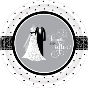 Black & White Wedding Dinner Plates 8ct