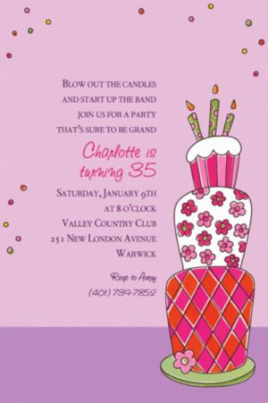 Custom Lovely Birthday Cake Invitations