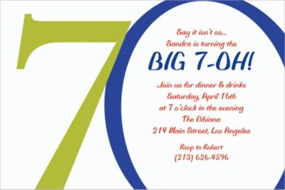 Custom Great Big 70th Invitations