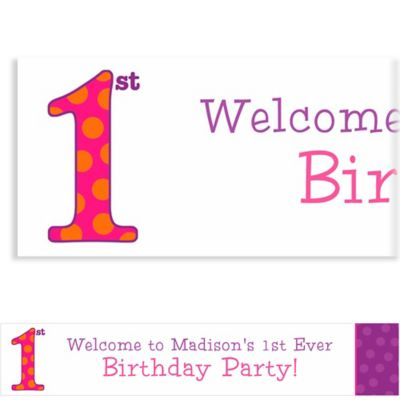 Big 1st Birthday Pink Custom Banner 6ft
