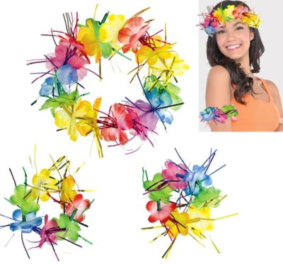 Rainbow Tinsel Head & Wrist Lei Set 3pc