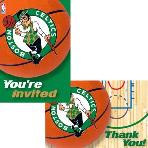Boston Celtics Invitations & Thank You Notes for 8