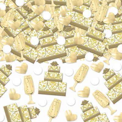 Gold Cake & Champagne Wedding Confetti 2 1/2oz