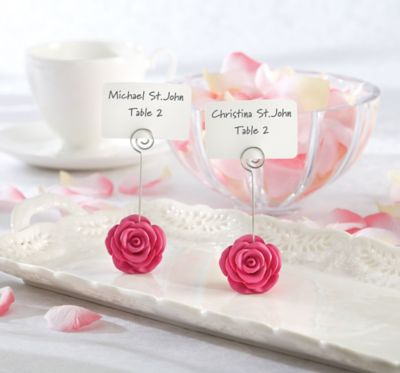 Pink Flower Place Card Holder