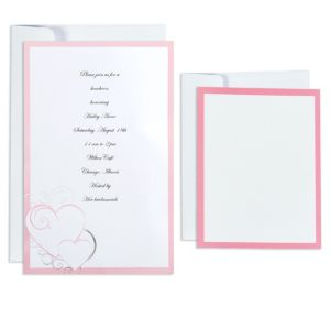 Pink & Silver Hearts Printable Wedding Invitations Kit 50ct