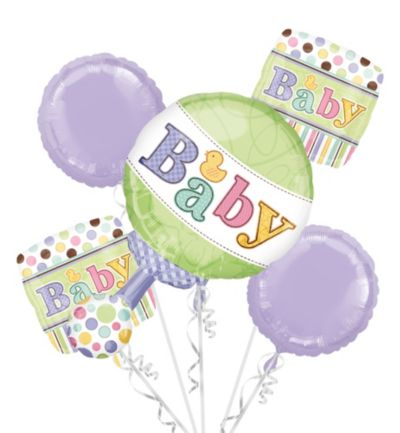 Baby Shower Balloon Bouquet 5pc - Tiny Bundle