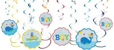 Ahoy Baby Boy Swirl Decorations 12ct