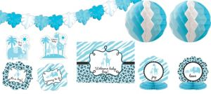 Blue Safari Baby Shower Room Decorating Kit 10pc