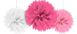 Pink & White Fluffy Decorations 3ct