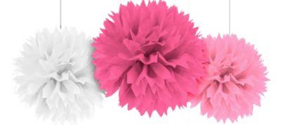 Multi Pink Fluffy Decorations 16in 3ct