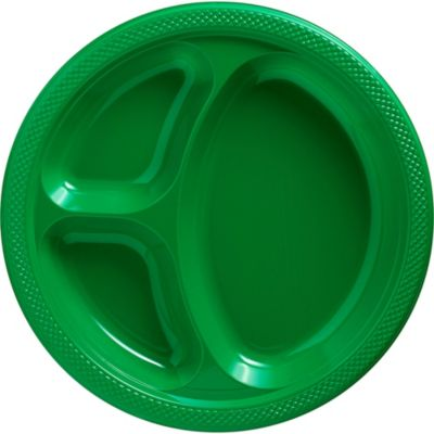 Festive Green Plastic Divided Dinner Plates 20ct Paper