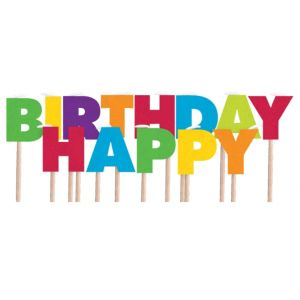 Multicolor Rainbow Happy Birthday Toothpick Candles 13ct