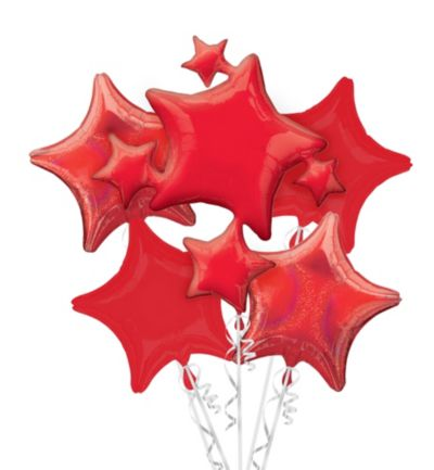 Red Stars Balloon Bouquet 5pc