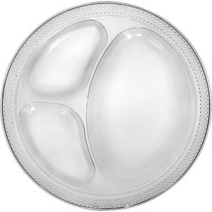 CLEAR Plastic Divided Dinner Plates 20ct