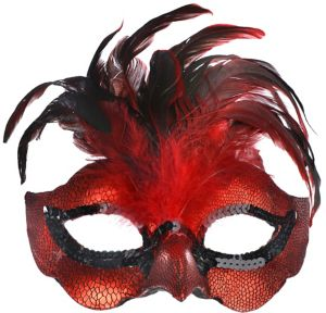 Fire Bird Feather Masquerade Mask
