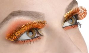 Self-Adhesive Orange Tinsel False Eyelashes
