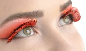 Self-Adhesive Red Tinsel False Eyelashes